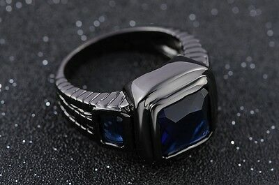 Size 9,10,11,12 Blue Sapphire Black Stainless Steel Wedding Engagement Men Rings