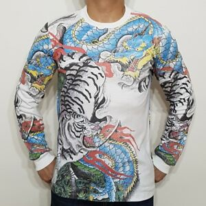 fca1c6583a868 Details about NEW MEN'S JAPANESE IREZUMI DRAGON AND TIGER TATTOO WHITE LONG  SLEEVE T-SHIRT