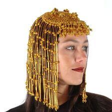 Gold Beaded CLEOPATRA Headpiece wig gypsy flapper egyptian mardi gras showgirl