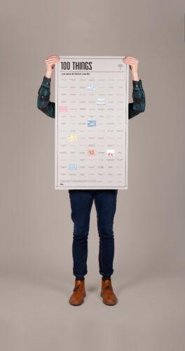 Poster 100 Things you must do DOIY Aktivitäten Erfahrungen 98x55 cm interaktiv