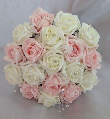 WEDDING FLOWERS BRIDESMAID BOUQUET PINK/IVORY FOAM ROSE POSIE ARTIFICIAL CRYSTAL