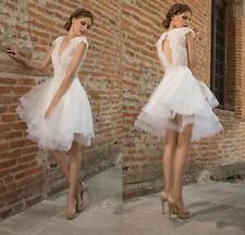 Sleeveless Applique Short Wedding Dress Open Back Lace Mini Bridal Gown Custom