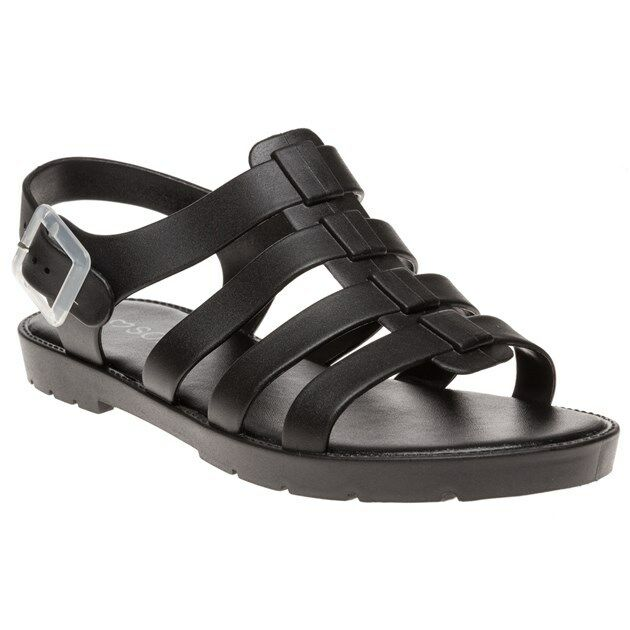 New Womens SOLE Black Phiphi Synthetic Sandals Flats Buckle
