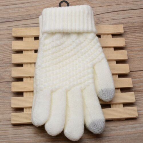 Women Warm Stretch Knitted Gloves Winter Casual Full Finger Touch Screen Mittens