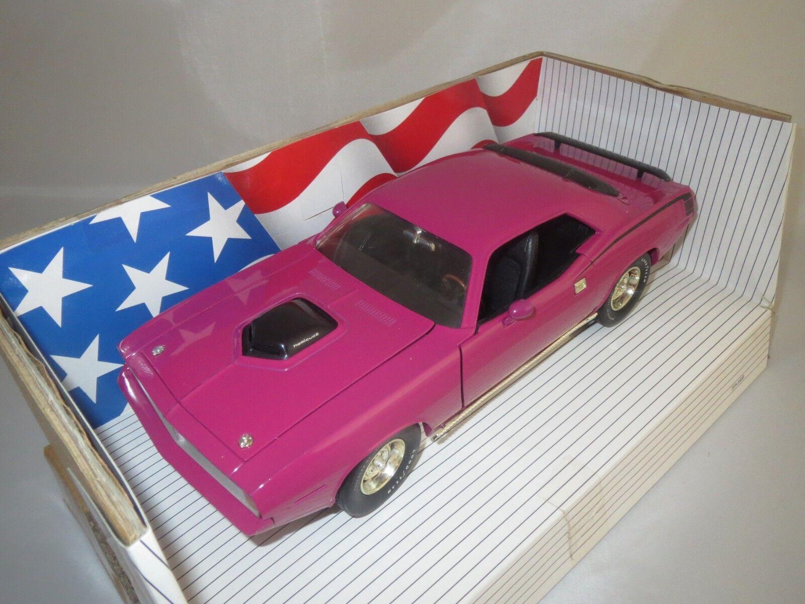 ERTL American Muscle Plymouth Hemi Cuda  1970  (Rose) 1 18 dans neuf dans sa boîte