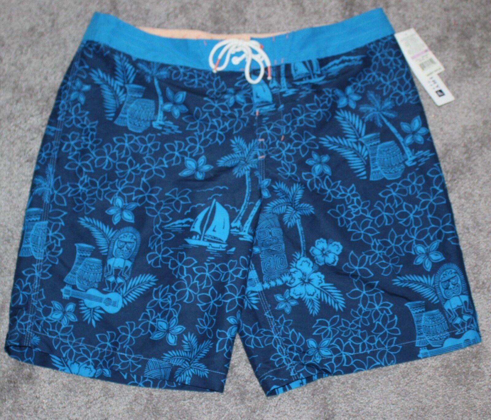 New SPERRY Board Shorts Tiki Hawaiian Swimsuit Men's XL X-LARGE Navy bluee Floral