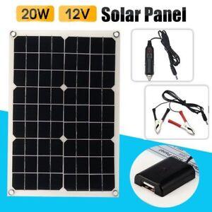 20W-18V-5V-Wasserdicht-Solarpanel-Solarzelle-USB-fuer-Handy-Auto-Boat-Ladegeraet