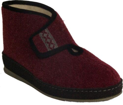 Schawos chauds Seniors Chaussons Grand-mère feutre rouge véritable laine Fermeture Velcro Neuf