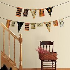 HAPPY HALLOWEEN PENNANTS wall stickers 54 decals spiderweb spooky room decor