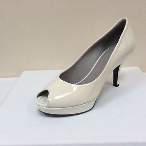 BNWB UK 4.5//EU 37.5 K/&S white patent peep toe platform court shoes RRP £175