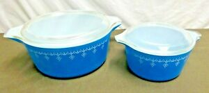 Pyrex Snowflake Blue Casseroles 475-B 2.5 Quart & 473 1 Qt W/ Lids 475-C & 470-C