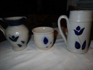 Williamsburg Pottery Salt Glazed Blue Leaf pitcher tankard jar/bowl