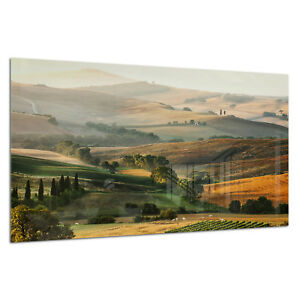 TempéRé Verre Trempé Impression Photo Wall Art Photo Tuscan Landscape View Prizma Gwa0321-afficher Le Titre D'origine RafraîChissant Et Enrichissant La Salive