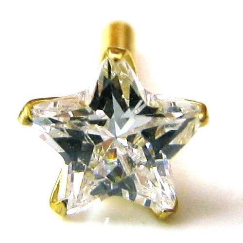 Star Shape seule pierre piercing nez stud push PIN Véritable 14k or Jaune