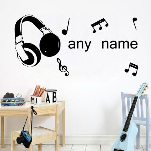 Modern Custom Name Vinyl Wall Sticker Music Wall Decals For Bedroom Kids Room