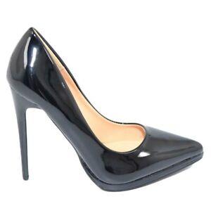 Decollete' donna a punta nero tacco a spillo 12 cm lucido vernice comode plateau