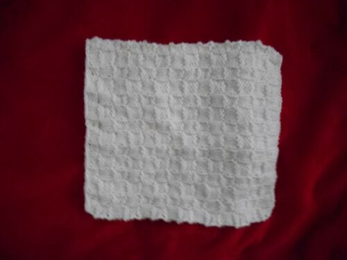 """Mini Hand-knit Blanket-rug 10"""" x 9""""  Cream colored for ooak Baby Dollhouses"""