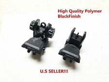 NEW .223 5.56 Tactical Polymer Front And Rear AR Flip Up Sight Set Black BLACK