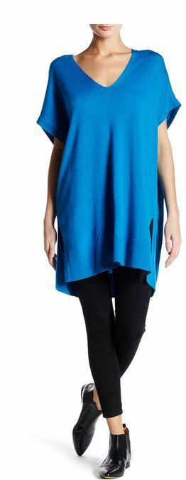 Eileen Fisher Crystal Blau V-Neck Boxy Tunic Top M