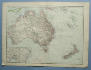 """1895 The Times Full Colour Map Australia and New Zealand 16"""" x 22"""""""