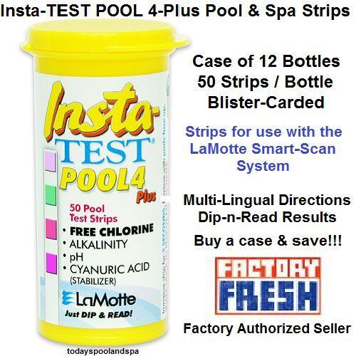 Insta-TEST PISCINA 4 Plus Smart-Scan tiras de prueba, tiras de pkg 50 - Case 12