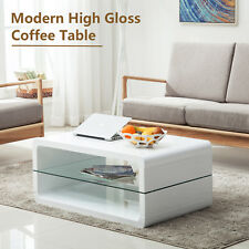 2 Shelves Modern High Gloss White Coffee Table Storage Space Living Room  Desk