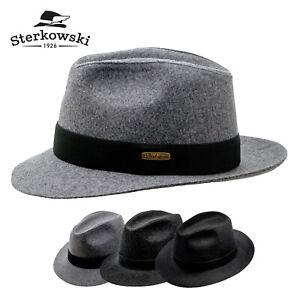 Sterkowski-CORLEONE-Wool-Fedora-Crown-Hat-Vintage-Retro-Elegant-Wide-Brim