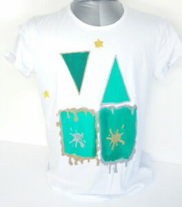 Artistic-t-shirt-worked-and-hand-painted-in-Italy-cotton-size-Xl-new-white