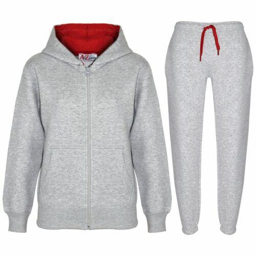 Kids Boys Girls Tracksuit Fleece Grey /& Red Hoodie /& Bottom Jogging Suits 5-13 Y