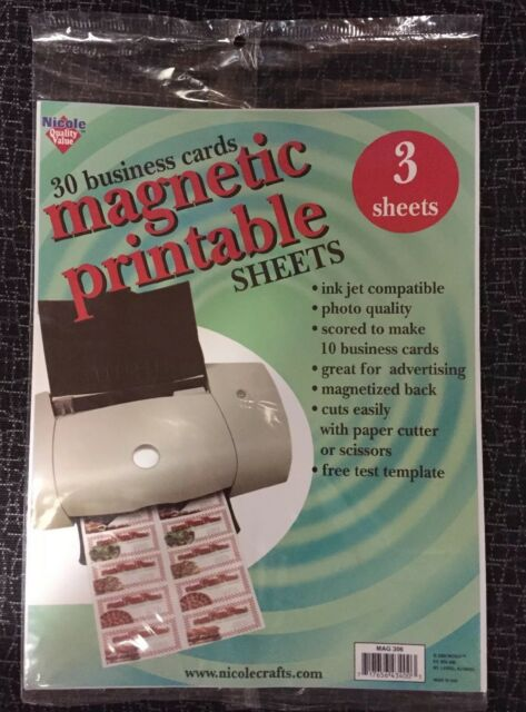 Magnetic Business Card Sheets Ink Jet White 3 Sheets Of 10 Cards Mag