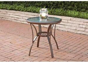 Outdoor Bistro Round Table Aluminum Brown Patio Umbrella Hole Glass