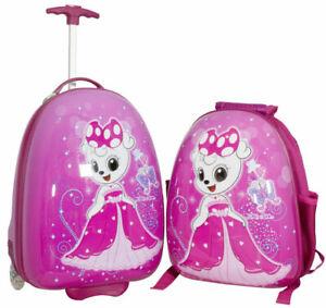 Hartschalen-Trolley-und-Rucksack-Motiv-Prinzessin-Kinderkoffer