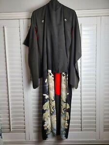 Vintage-Kimono-Traditonal-Japanese-Jacket-Robe-Geisha-Black-Red-Lined-Birds