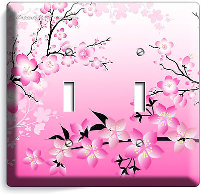 JAPANESE PINK SAKURA CHERRY FLOWERS BLOSSOM DOUBLE GFCI LIGHT SWITCH PLATE COVER