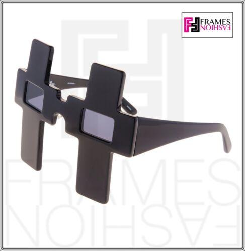 LINDA FARROW Jeremy Scott CROSS Shiny Black Polarized Sunglasses JS//CROSS
