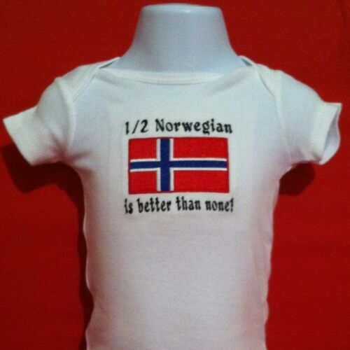 1//2 Norwegian is better than none Norway Flag  Baby Bodysuit Embroidered