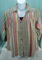 Dress Barn Blouse 3x Top Navy Cami 2 Piece Striped Blue Green Yellow Red