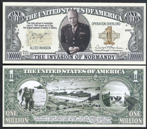 The Invasion of Normandy Eisenhower Million Lot of 2 BILLS D-Day