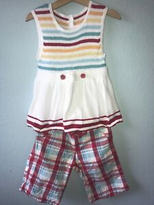 Janie and Jack By The Seashore Stripe Top 7 & Plaid Shorts Sz 6