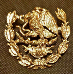 Golden Large Metallic Mexican Coat Of Arms Cap Hat Badge Mexico Flag