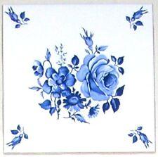 "Blue Rose Delft Ceramic Tile Kiln Fired 4.25"" Flower #3 With Flower Corners"