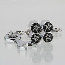 Star Air Car Wheel Tyre Valve Dust Caps Covers Spanner Keying Set of 4
