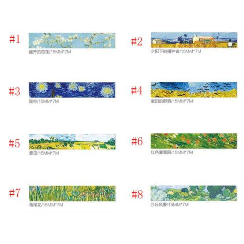 DIY Washi Masking Tape 7 Meter Paper Sticker Van Gogh/'s Color Decor Scrapbook