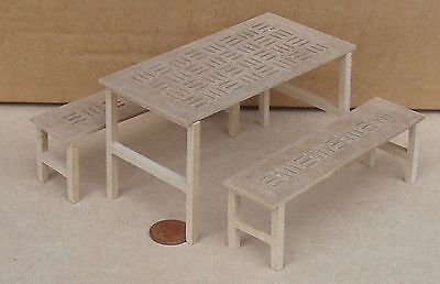 MDF Wooden Flat Pack Table & Two Benches Dolls House Garden Natural Accessory