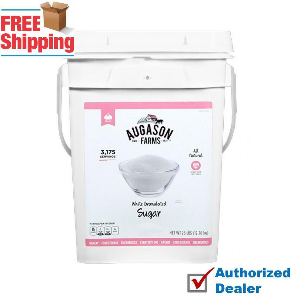 Augason Farms 3175 Serv WHITE GRANULATED SUGAR - 4 GALLON PAIL Gluten Free