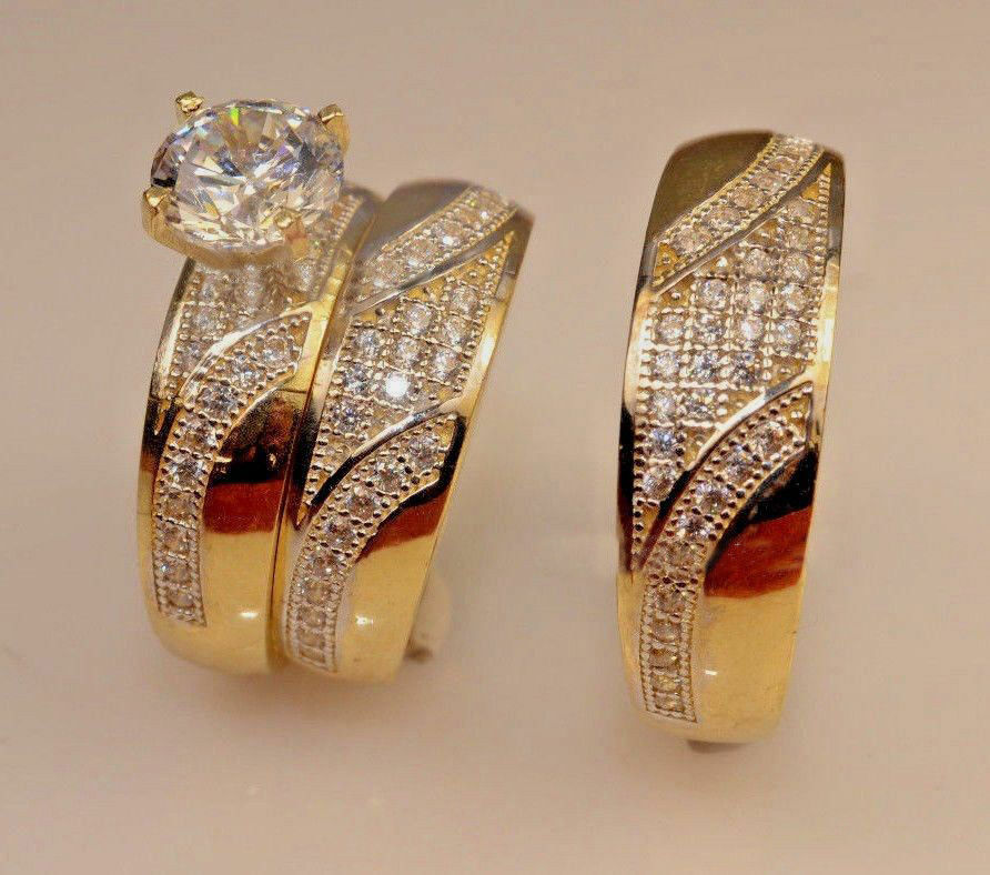 Engagement Bridal Wedding Trio Ring Set His Her Diamond Yellow gold Over 3.00 CT