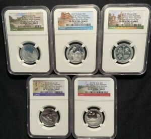 2019-S-First-999-fine-SILVER-5-Quarters-Set-25C-from-10-coin-Proof-Set-PF70-UC