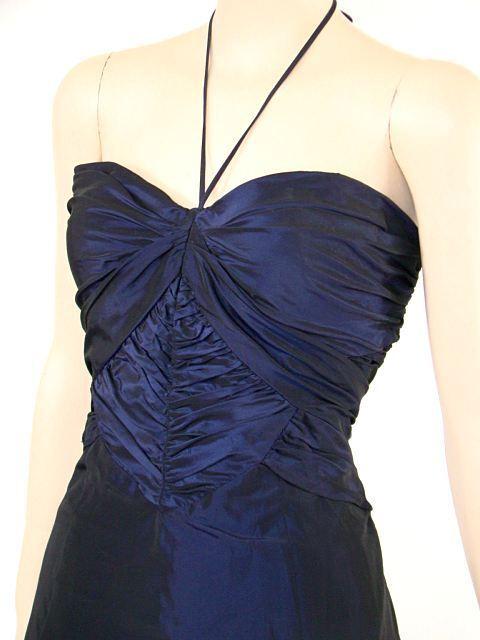 VTG Look BEBE Blau Ruche Halter Party Prom Dress L NWOT