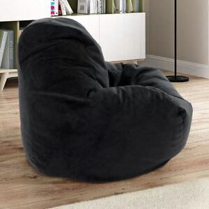 Enjoyable Details About Bean Bag Comfy Chair Dorm Teen Kids Room Lounger Large Big Foam Microfiber Black Evergreenethics Interior Chair Design Evergreenethicsorg