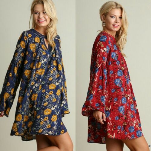 Glockenärmel Kleid Blumenmuster Boho Umgee Marineblau Hippie Voll Swing qBwHIXx